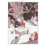 Häschen schneidet Geburtstags-Kuchen Grußkarte