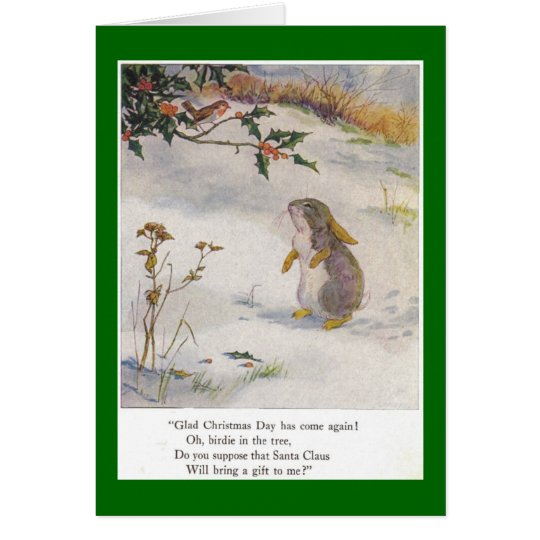Häschen-und Piepmatz-Weihnachten Grußkarte