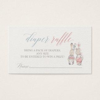 Häschen-Windelraffle-Karten für Babyparty Visitenkarte