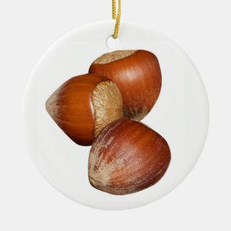Haselnüsse Keramik Ornament