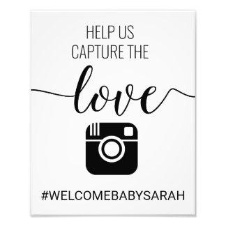 Hashtag kundenspezifisches Babyparty-Zeichen Fotodruck