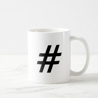 hashtag Text-Symbolbuchstabe Kaffeetasse