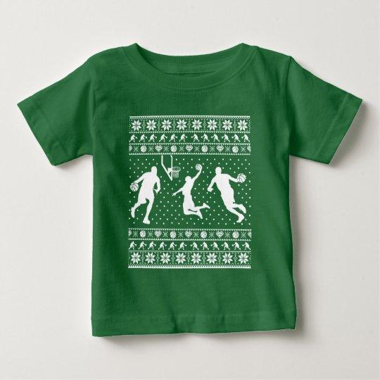 Hässliche Basketball Weihnachtsstrickjacke Baby T-shirt