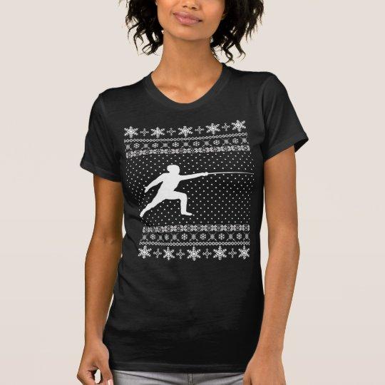 Hässliche fechtende Weihnachtsstrickjacke T-Shirt