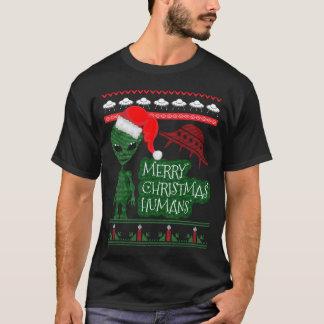 Hässliche Strickjacke alien UFO T-Shirt