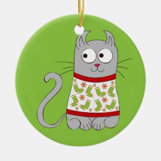 Hässliche Weihnachtsstrickjacke-Cartoon-Katze Rundes Keramik Ornament