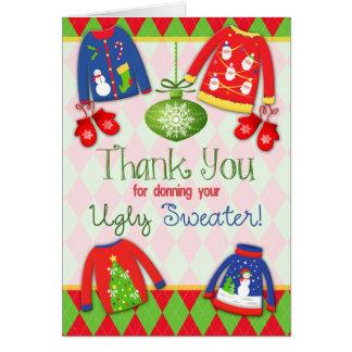 Hässliche Weihnachtsstrickjacke danken Ihnen zu Karte