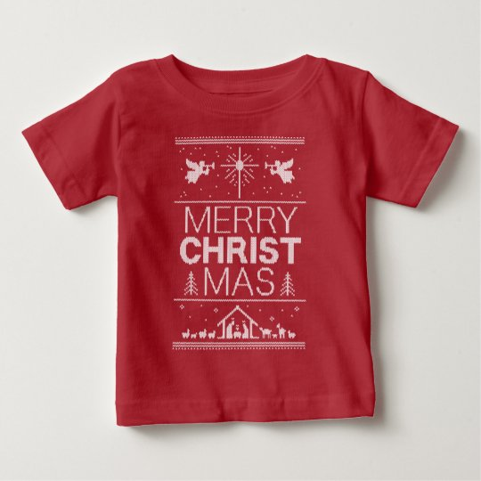 Hässliche Weihnachtsstrickjacke-fröhlicher Baby T-shirt