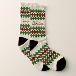Hässliches Weihnachten trifft Name-Lieben Sankt Socken