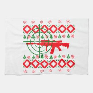 Hässliches Weihnachtsgewehr Geschirrtuch