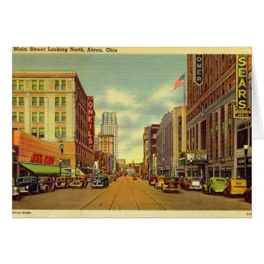 Hauptst., Akron, Ohio Vintag Karte