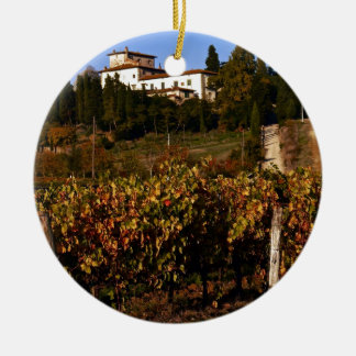 Haus auf dem toskanischen Hügel Keramik Ornament