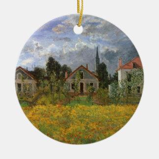Häuser in Argenteuil durch Claude Monet, Vintage Keramik Ornament