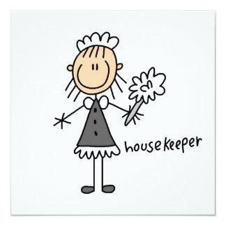 Haushälterin-Strichmännchen Quadratische 13,3 Cm Einladungskarte