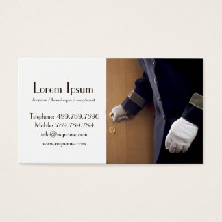 Haushälterindoorman-Hotel-Visitenkarte-Schablone Visitenkarte