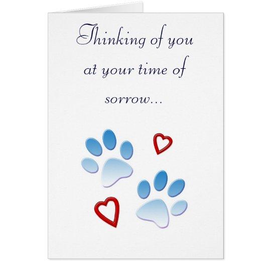 Haustier-Beileids-Karten-Tatzen und Herzen Grußkarte