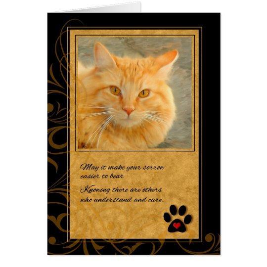 Haustier-Beileids-Verlust der Katze - orange Tabby Grußkarte