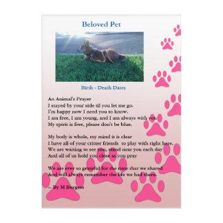 Haustier-Denkmal - das Gebet eines Tieres - Acryldruck