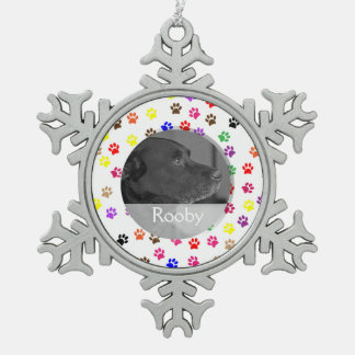 Haustier-Denkmal zum Gedenken an Tatzen-Drucke des Schneeflocken Zinn-Ornament