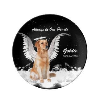 Haustier-Erinnerungsengels-Hund - golden Teller