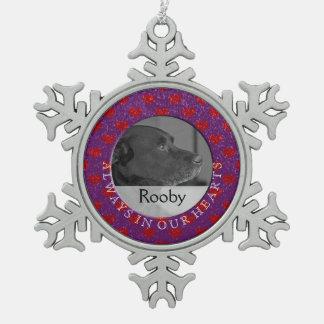 Haustier-ErinnerungsFoto personifizieren Schneeflocken Zinn-Ornament