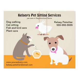 Haustier-sitzende Geschäfts-Werbung 11,4 X 14,2 Cm Flyer
