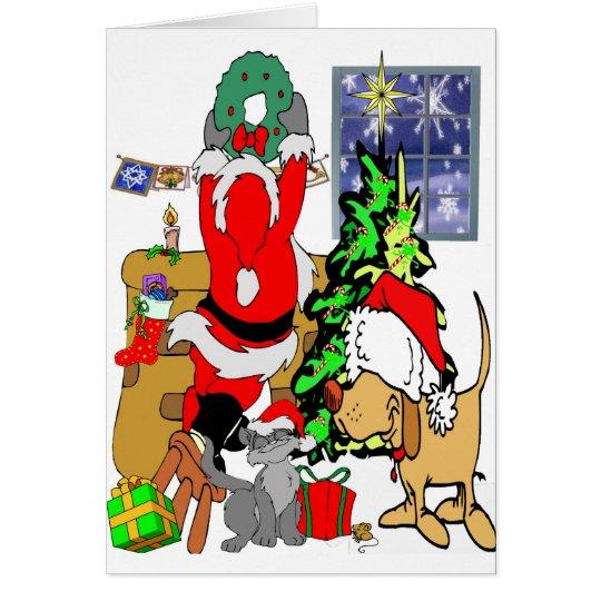 Haustier-Weihnachten Karte