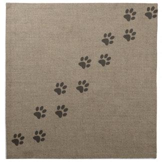 Haustiere Pawprints auf Leinwand-Effekt-Entwurf Stoffserviette