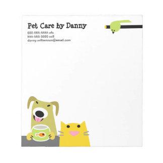 Haustierpflege-Geschäft Notizblock