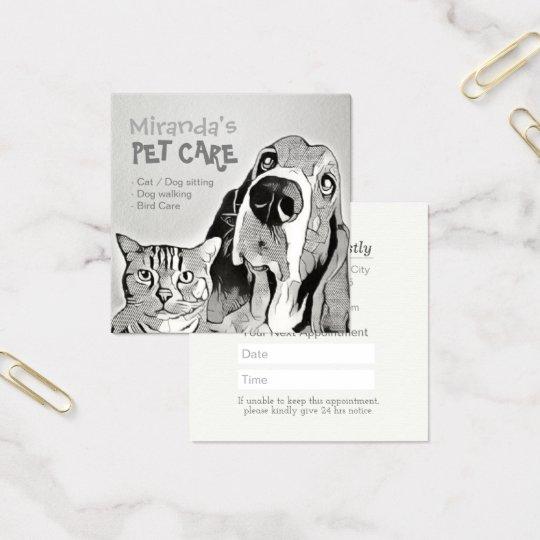 Haustierpflege-sitzender Baden-und Quadratische Visitenkarte