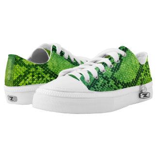 Haut-Art der grünen Schlange niedrige Niedrig-geschnittene Sneaker