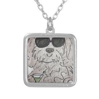 Havanese Hund Martini Halskette Mit Quadratischem Anhänger