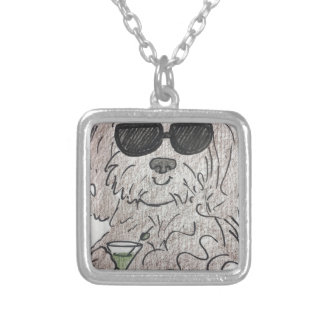 Havanese Hund Martini Versilberte Kette