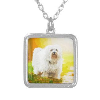 Havanese HundBichon Porträt Halskette Mit Quadratischem Anhänger