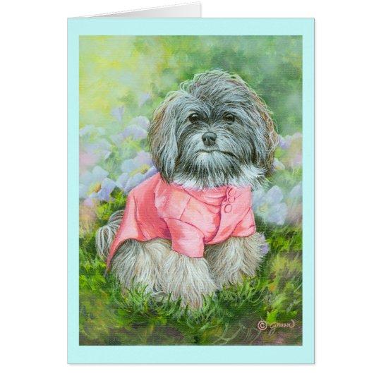 Havanese rosa Mantel-Kunst-Porträt Grußkarte