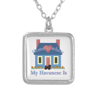Havanese Zuhause ist Halskette Mit Quadratischem Anhänger