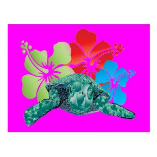 Hawaii-Hibiskus-Schildkröte Postkarte