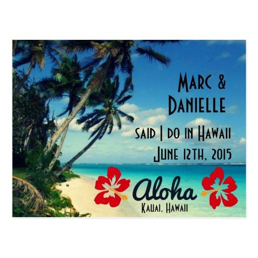 Hawaii-Hochzeits-Mitteilungs-Postkarten