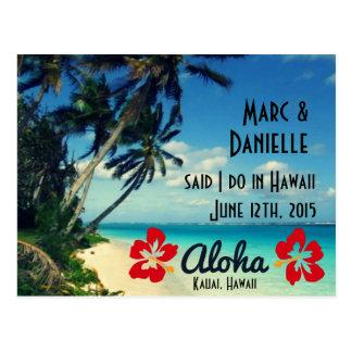 Hawaii-Hochzeits-Mitteilungs-Postkarten Postkarte
