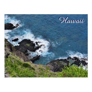 Hawaii-Klippen-Ozean-Wellen-landschaftliche Postkarte
