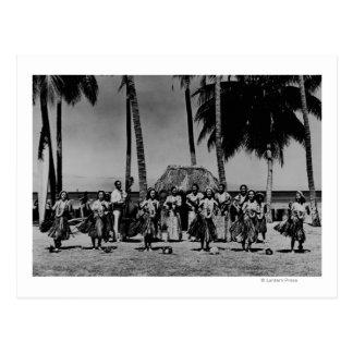 Hawaii - Linie des Hula Mädchen-Tanzens Postkarten