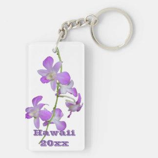 Hawaii-Orchideen lila und weiß Beidseitiger Rechteckiger Acryl Schlüsselanhänger