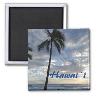 Hawaii-Palme durch Ozean Quadratischer Magnet