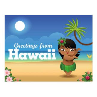 Hawaii-Postkarte - Hula Tänzer Postkarte
