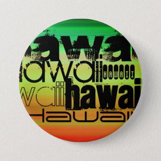 Hawaii; Vibrierendes Grünes, orange u. Gelb Runder Button 7,6 Cm