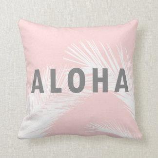 Hawaiianer-Aloha graues Typografie-Palme-Rosa Kissen