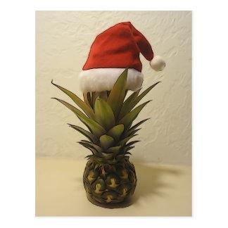 Hawaiische Ananas-Weihnachtsmannmütze-Postkarte Postkarte