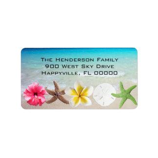 Hawaiische Blumenn Seashells-Rücksendeadresse Adressaufkleber