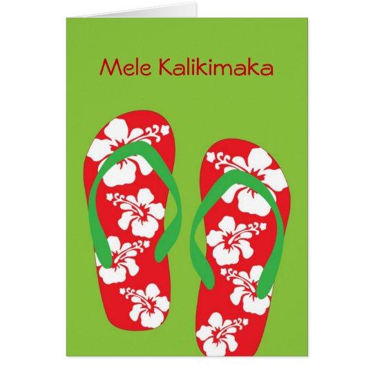 Hawaiische Hibiskus-Pantoffel-(drehen Sie Grußkarte
