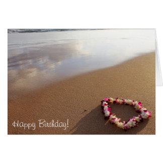 Hawaiische Leu u. Strand-Geburtstags-Karte Karte